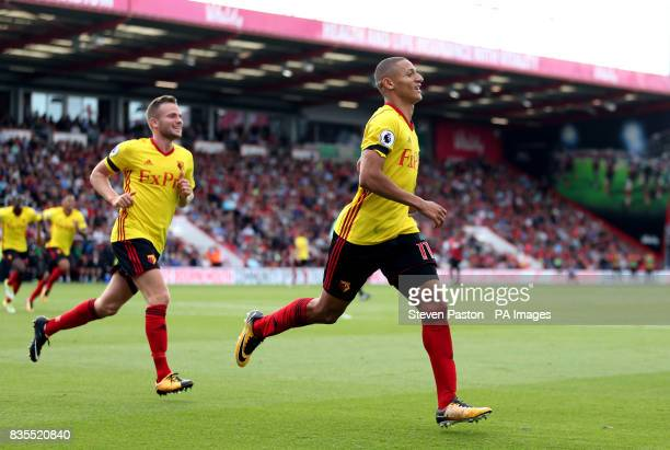 Watford's Richarlison celebrates scoring his side's first goal of the game during the Premier League match at the Vitality Stadium Bournemouth