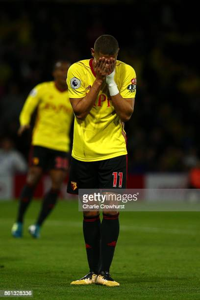 Watford's Richarlison looks dejected during the Premier League match between Watford and Arsenal at Vicarage Road on October 14 2017 in Watford...