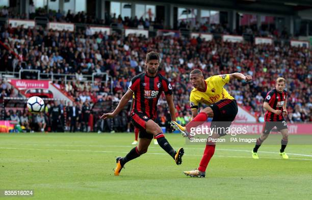 Watford's Richarlison shoots during the Premier League match at the Vitality Stadium Bournemouth