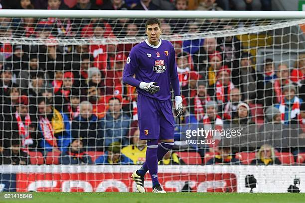 Watford's Romanian goalkeeper Costel Pantilimon stands in goal after being substituted on for the team's injured Brazilian goalkeeper Heurelho Gomes...