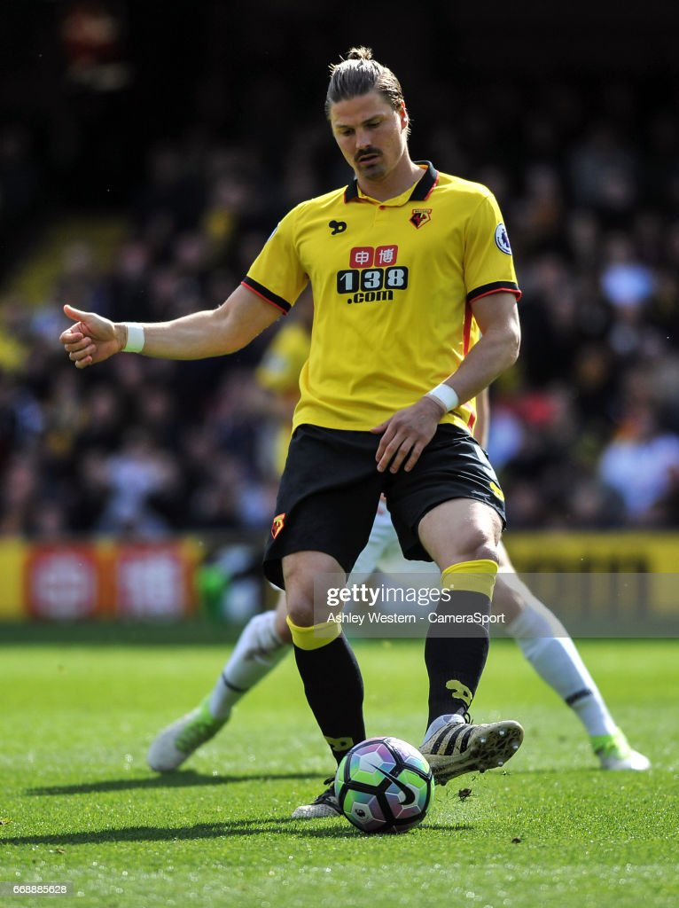 Watford's Sebastian Prodl in action during the Premier League match between Watford and Swansea City at Vicarage Road on April 15, 2017 in Watford, England.