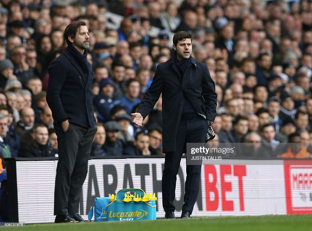 Watford's Spanish manager Quique Sanchez Flores (L) and Tottenham Hotspur's Argentinian head coach Mauricio Pochettino look on during the English Premier League football match between Tottenham Hotspur and Watford at White Hart Lane in north London on February 6, 2016. / AFP / JUSTIN TALLIS / RESTRICTED TO EDITORIAL USE. No use with unauthorized audio, video, data, fixture lists, club/league logos or 'live' services. Online in-match use limited to 75 images, no video emulation. No use in betting, games or single club/league/player publications. /