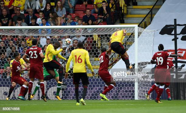 Watford's Stefano Okaka scores his side's first goal during the Premier League match at Vicarage Road Watford