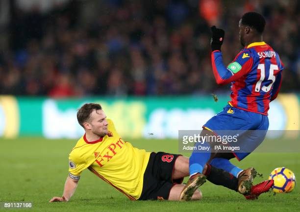 Watford's Tom Cleverley tackles Crystal Palace's Jeffrey Schlupp resulting in a red card for a second bookable offence during the Premier League...