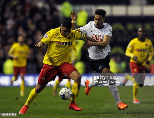 Watford's Troy Deeney and Derby County's Ryan Shotton battle for the ball