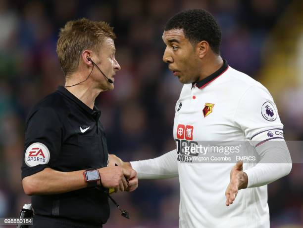 Watford's Troy Deeney appeals to the referee