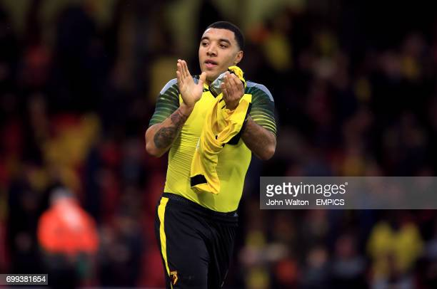 Watford's Troy Deeney applauds the fans after the game