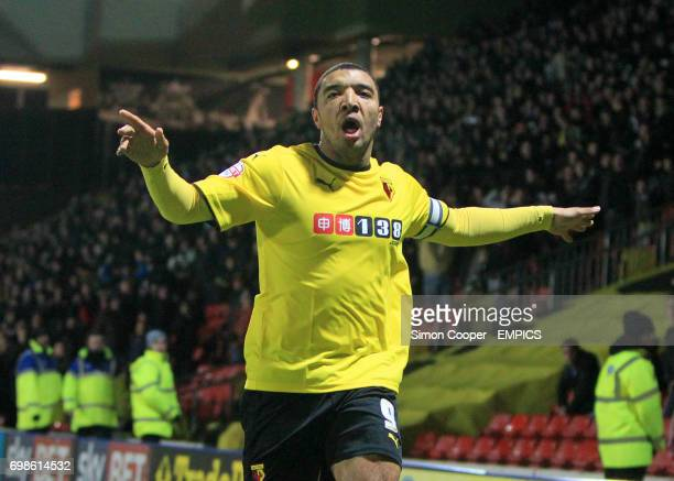 Watford's Troy Deeney celebrates scoring his side's first goal of the game