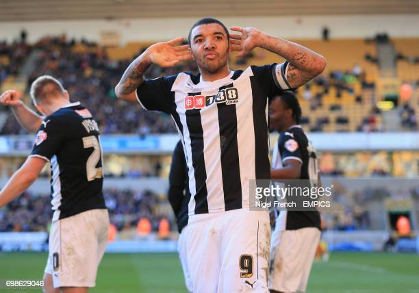 Watford's Troy Deeney celebrates scoring his side's second goal of the game against Wolverhampton Wanderers