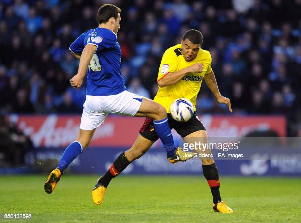 Watford's Troy Deeney goes past Leicester City's Matty James during the npower Championship match at the King Power Stadium Leicester