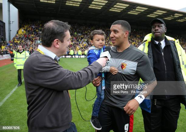 Watford's Troy Deeney is interviewed on the pitch after the final whistle