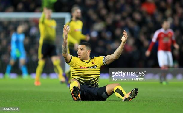 Watford's Troy Deeney shows his frustration against Manchester United