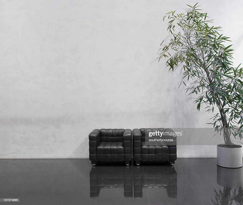 Wating area with two black chairs and a plant