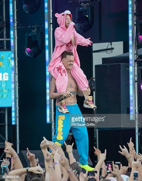Watkin Tudor Jones and Yolandi Visser of the music group 'Die Antwoord' are seen at 'Jimmy Kimmel Live' on September 19 2016 in Los Angeles California