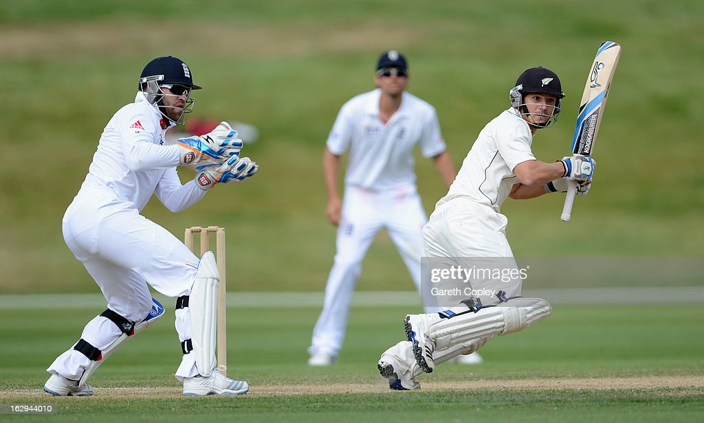 <a gi-track='captionPersonalityLinkClicked' href=/galleries/search?phrase=BJ+Watling&family=editorial&specificpeople=2115739 ng-click='$event.stopPropagation()'>BJ Watling</a> of a New Zealand XI bats during day four of the International Tour Match between the New Zealand XI and England at Queenstown Events Centre on March 2, 2013 in Queenstown, New Zealand.