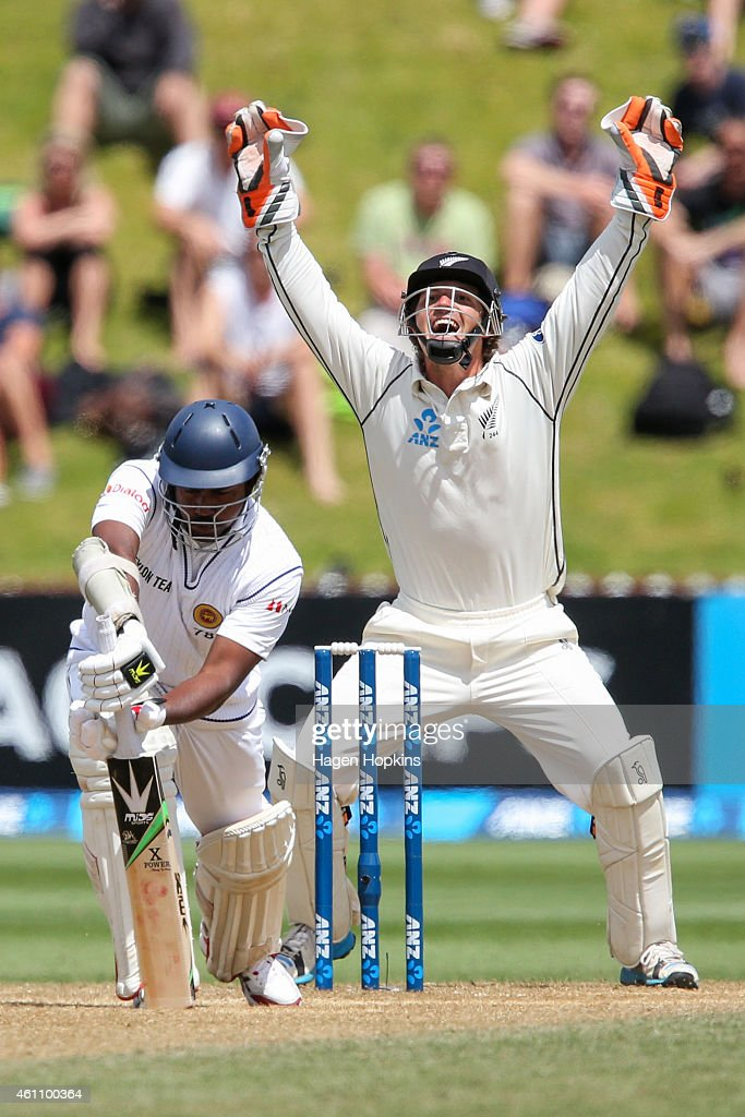 <a gi-track='captionPersonalityLinkClicked' href=/galleries/search?phrase=BJ+Watling&family=editorial&specificpeople=2115739 ng-click='$event.stopPropagation()'>BJ Watling</a> of New Zealand appeals successfully for the wicket of <a gi-track='captionPersonalityLinkClicked' href=/galleries/search?phrase=Rangana+Herath&family=editorial&specificpeople=2303669 ng-click='$event.stopPropagation()'>Rangana Herath</a> of Sri Lanka during day five of the Second Test match between New Zealand and Sri Lanka at Basin Reserve on January 7, 2015 in Wellington, New Zealand.