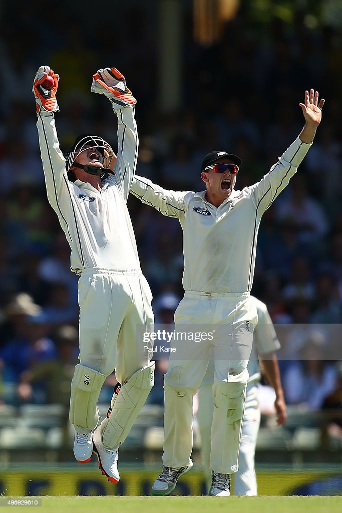 Watling of New Zealand appeals unsuccessfully for a catch off Usman Khawaja of Australia during day one of the second Test match between Australia...