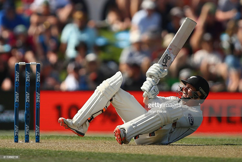 <a gi-track='captionPersonalityLinkClicked' href=/galleries/search?phrase=BJ+Watling&family=editorial&specificpeople=2115739 ng-click='$event.stopPropagation()'>BJ Watling</a> of New Zealand bats during day one of the Test match between New Zealand and Australia at Hagley Oval on February 20, 2016 in Christchurch, New Zealand.