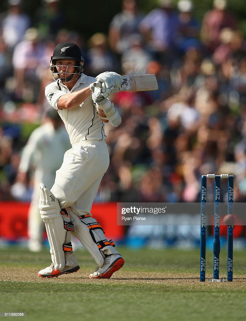 Watling of New Zealand bats during day one of the Test match between New Zealand and Australia at Hagley Oval on February 20 2016 in Christchurch New...