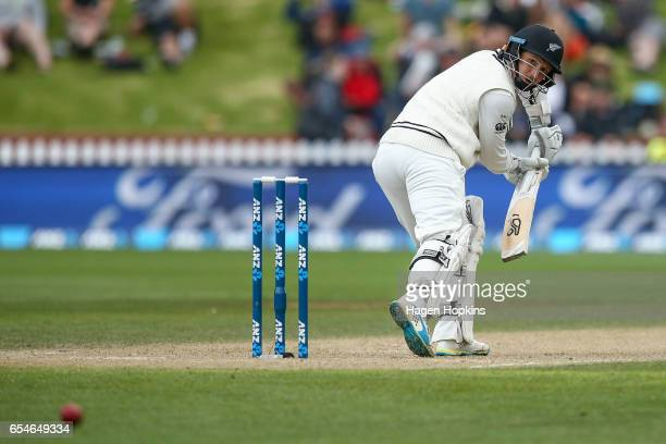 Watling of New Zealand bats during day three of the test match between New Zealand and South Africa at Basin Reserve on March 18 2017 in Wellington...