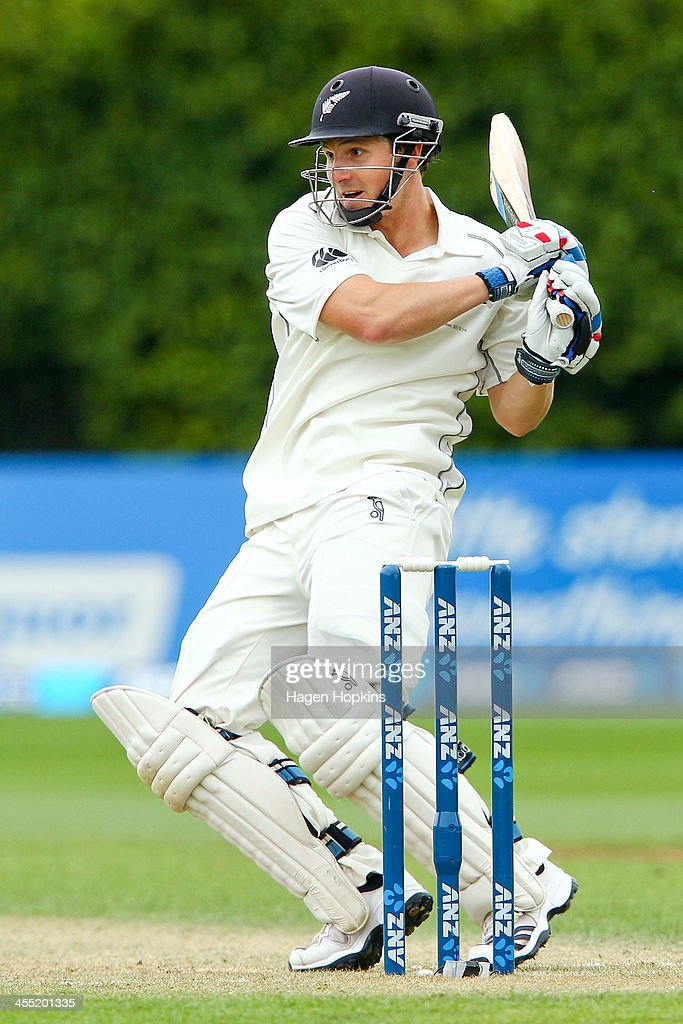 <a gi-track='captionPersonalityLinkClicked' href=/galleries/search?phrase=BJ+Watling&family=editorial&specificpeople=2115739 ng-click='$event.stopPropagation()'>BJ Watling</a> of New Zealand bats during day two of the Second Test match between New Zealand and the West Indies at Basin Reserve on December 12, 2013 in Wellington, New Zealand.