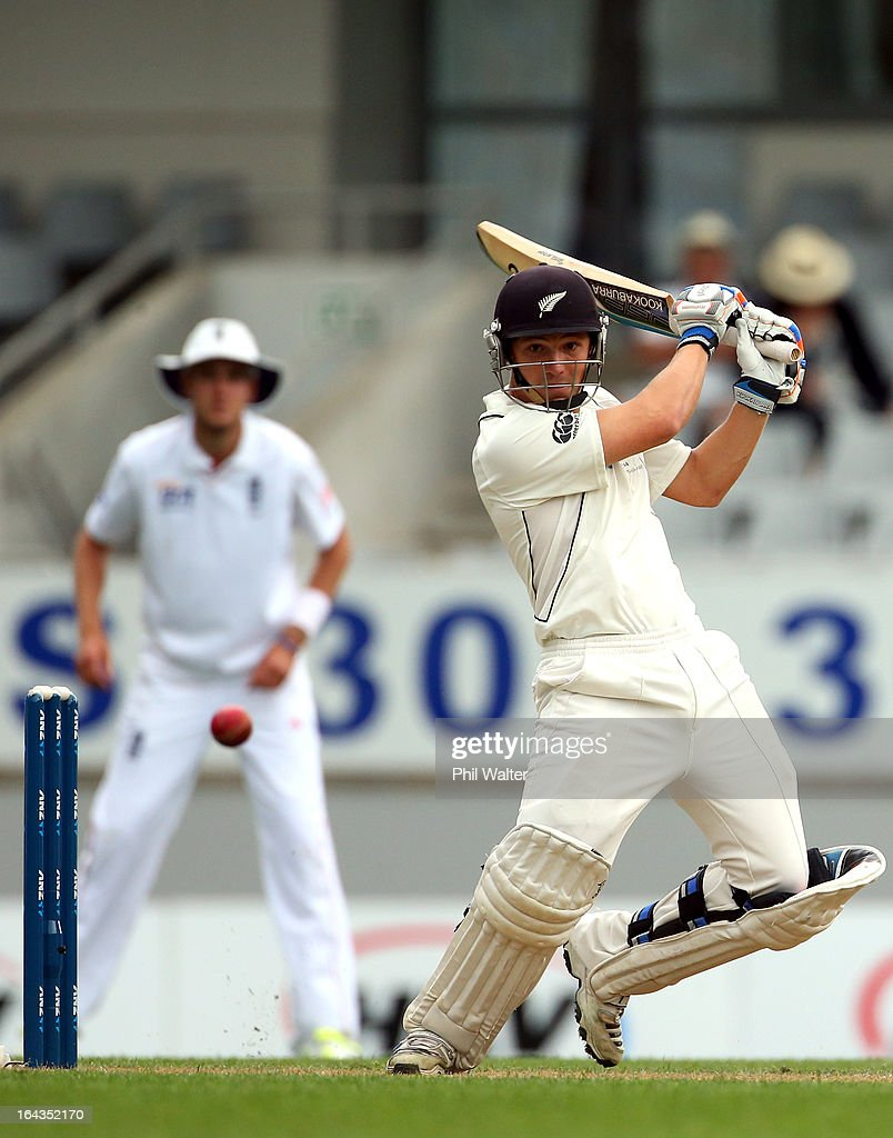 Watling of New Zealand bats during day two of the Third Test match between New Zealand and England at Eden Park on March 23 2013 in Auckland New...