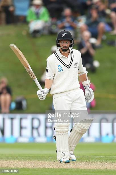 Watling of New Zealand celebrates his half centruy during day three of the First Test match between New Zealand and South Africa at University Oval...