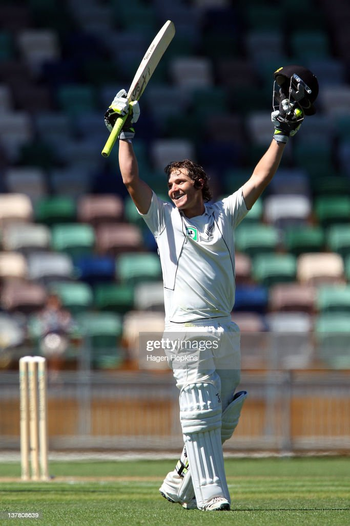 Watling of New Zealand celebrates his maiden test century during day three of the test match between New Zealand and Zimbabwe at McLean Park on...