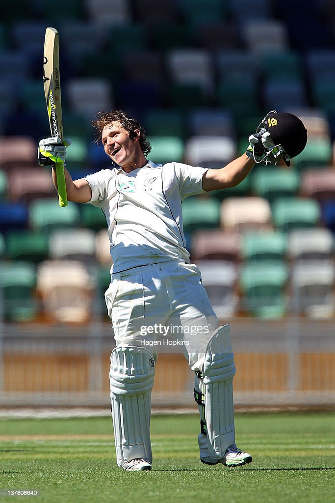 BJ Watling of New Zealand celebrates his maiden test century during day three of the test match between New Zealand and Zimbabwe at McLean Park on January 28, 2012 in Napier, New Zealand.