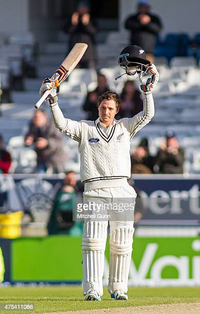 Watling of New Zealand celebrates scoring a century during day three of the 2nd Investec Test match between England and New Zealand at Headingley...