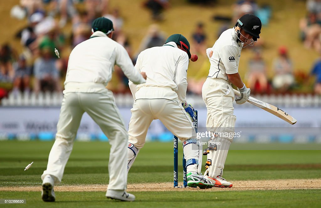 BJ Watling of New Zealand is bowled by Nathan Lyon of Australia during day four of the Test match between New Zealand and Australia at Basin Reserve on February 15, 2016 in Wellington, New Zealand.