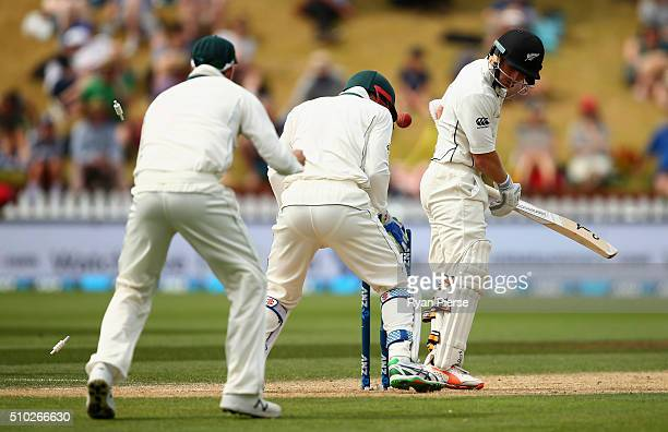 Watling of New Zealand is bowled by Nathan Lyon of Australia during day four of the Test match between New Zealand and Australia at Basin Reserve on...