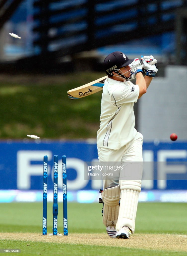 Watling of New Zealand is bowled during day two of the Second Test match between New Zealand and the West Indies at Basin Reserve on December 12 2013...