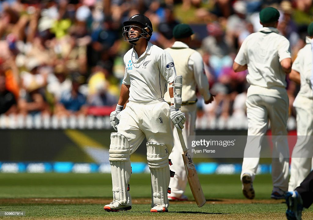 <a gi-track='captionPersonalityLinkClicked' href=/galleries/search?phrase=BJ+Watling&family=editorial&specificpeople=2115739 ng-click='$event.stopPropagation()'>BJ Watling</a> of New Zealand looks dejected after being dismissed by Josh Hazlewood of Australia during day one of the Test match between New Zealand and Australia at Basin Reserve on February 12, 2016 in Wellington, New Zealand.