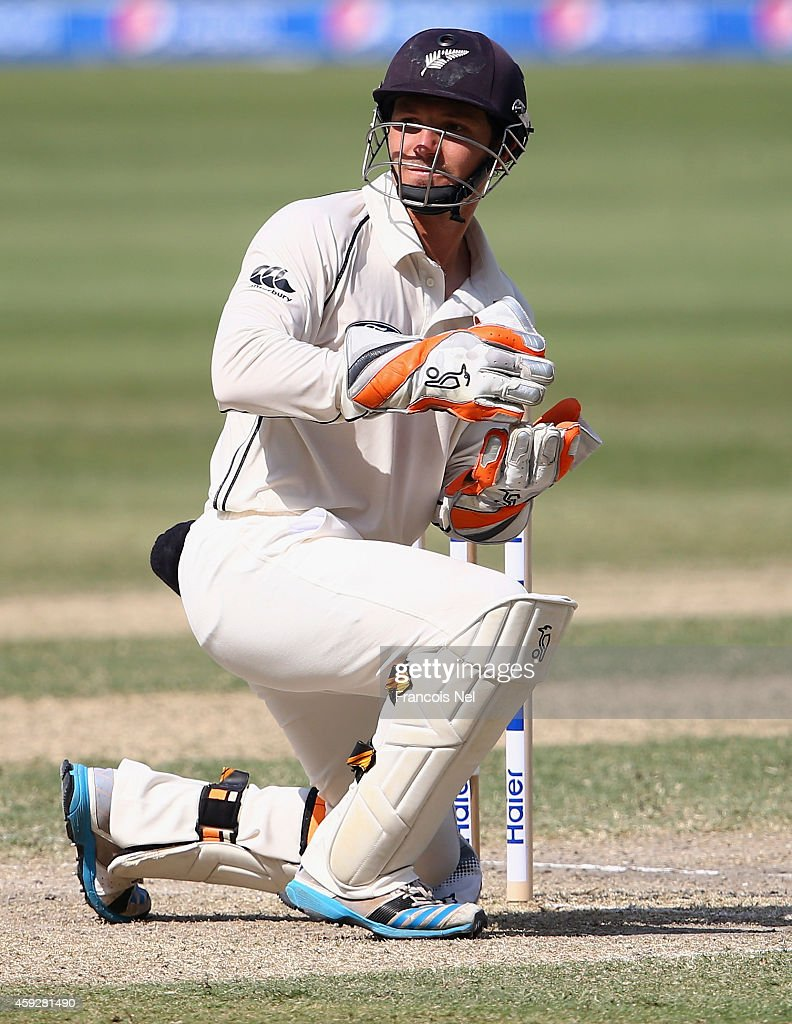 Watling of New Zealand looks on during day four of the second test between Pakistan and New Zealand at Dubai International Stadium on November 20...