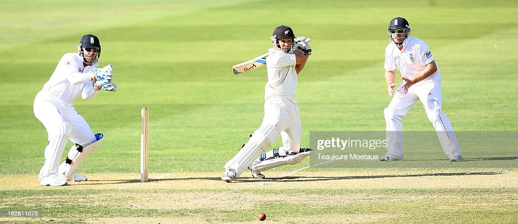 BJ Watling of New Zealand XI hits to the offside during day two of the International tour match between the New Zealand XI and England at Queenstown Events Centre on February 28, 2013 in Queenstown, New Zealand.
