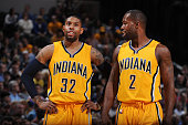 J Watson and Rodney Stuckey of the Indiana Pacers during the game against the Toronto Raptors on March 16 2015 at Bankers Life Fieldhouse in...