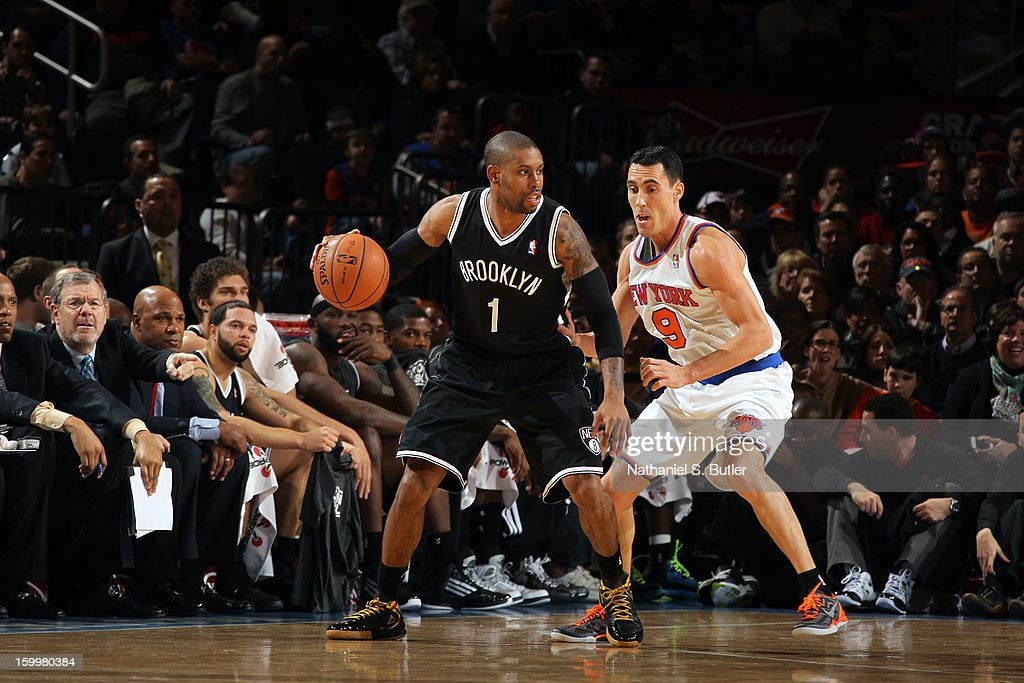 C.J. Watson #1 of the Brooklyn Nets looks to drive to the basket against the New York Knicks on January 21, 2013 at Madison Square Garden in New York City.