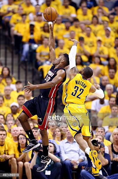 J Watson of the Indiana Pacers defends against CJ Watson of the Indiana Pacers during Game Two of the Eastern Conference Finals of the 2014 NBA...