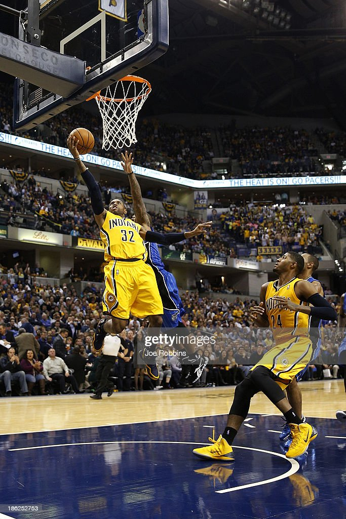 J Watson of the Indiana Pacers drives to the basket against the Orlando Magic during the game at Bankers Life Fieldhouse on October 29 2013 in...