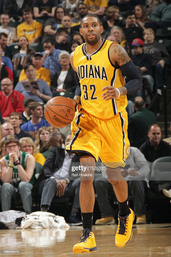 J Watson of the Indiana Pacers drives to the basket against the Charlotte Hornets during the game on April 3 2015 at Bankers Life Fieldhouse in...