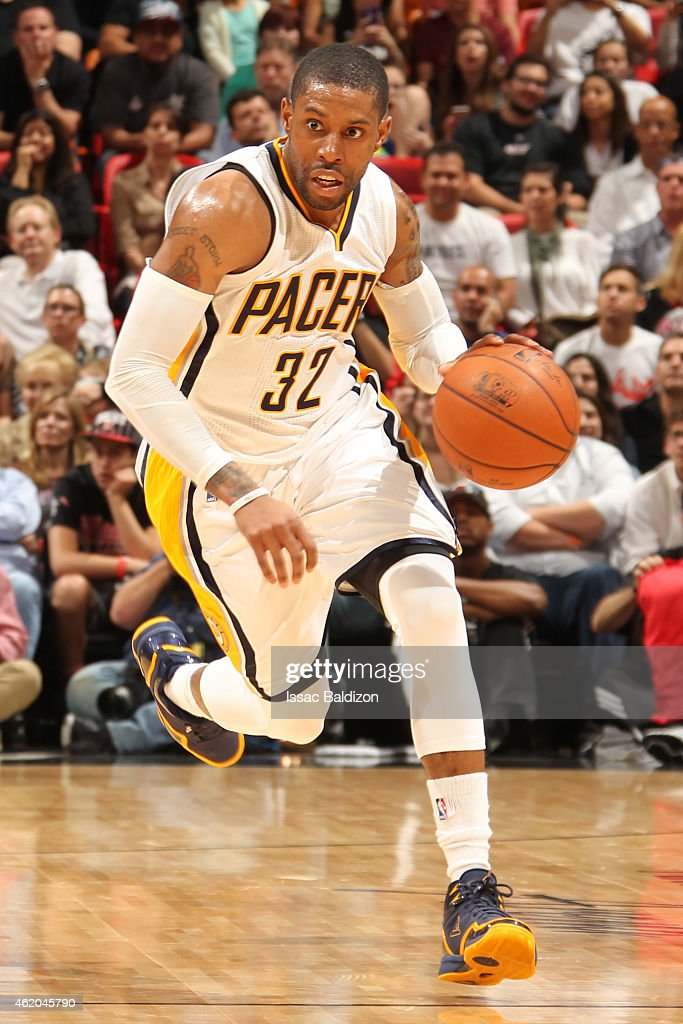 J Watson of the Indiana Pacers handles the ball against the Miami Heat on January 23 2015 at American Airlines Arena in Miami Florida NOTE TO USER...
