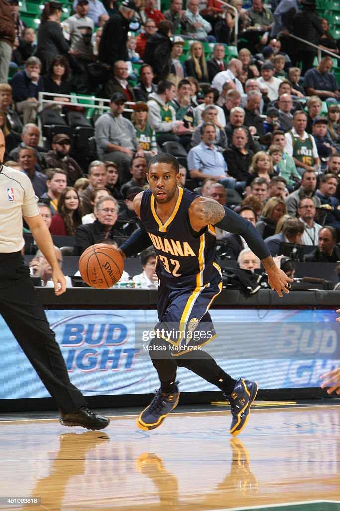J Watson of the Indiana Pacers handles the ball against the Utah Jazz during the game on January 5 2015 at EnergySolutions Arena in Salt Lake City...