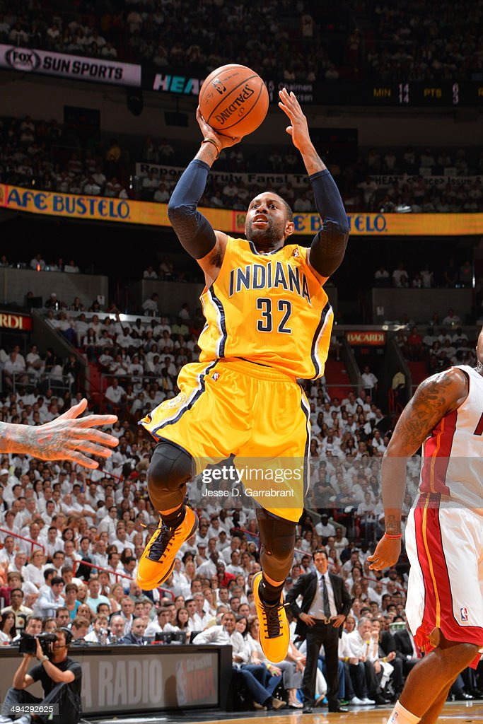 J Watson of the Indiana Pacers shoots against the Miami Heat in Game Three of the Eastern Conference Semifinals during the 2014 NBA Playoffs on May...