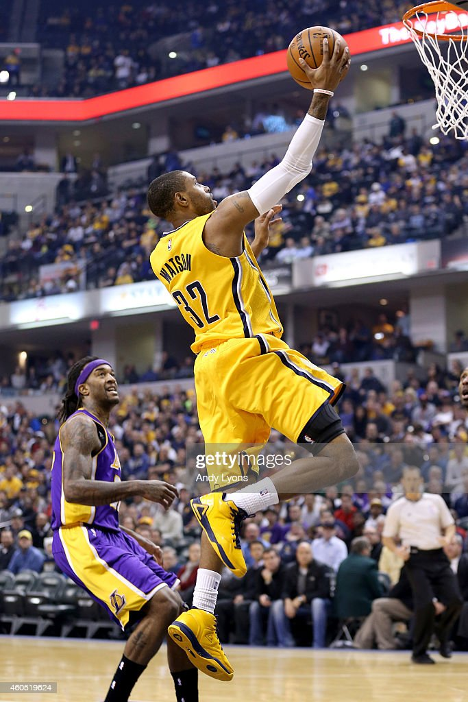 J Watson of the Indiana Pacers shoots the ball during the game against the Los Angeles Lakers during the game at Bankers Life Fieldhouse on December...