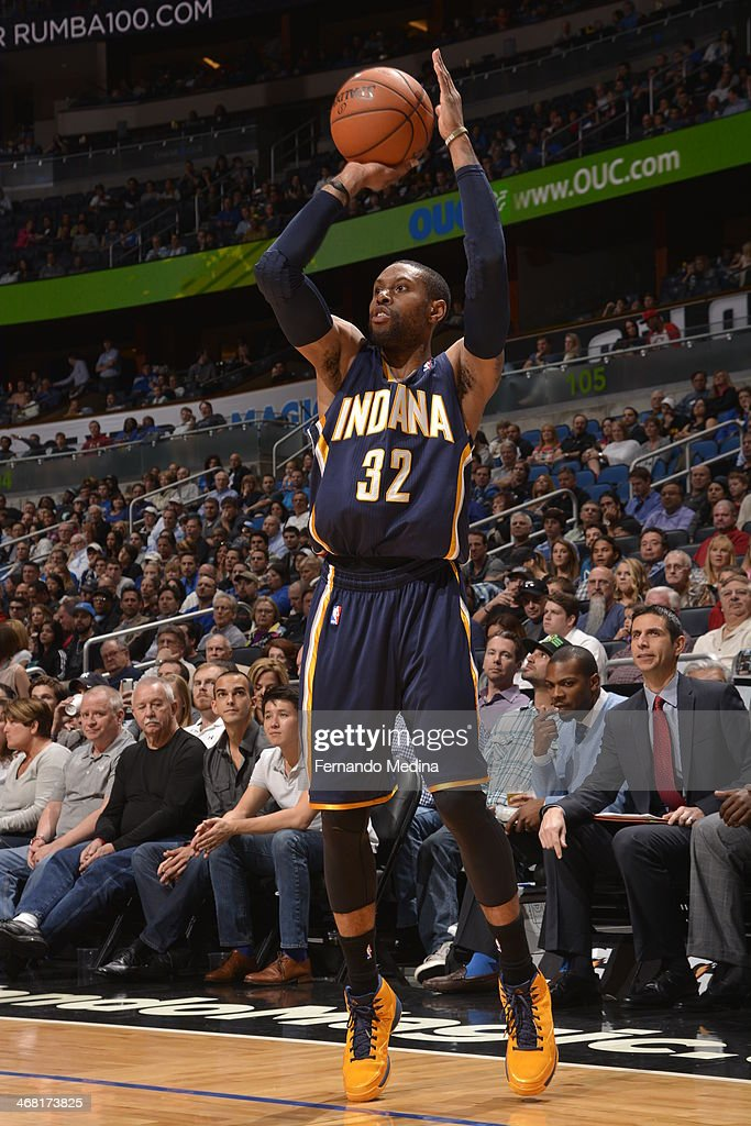 J Watson of the Indiana Pacers taking a shot during a game against the Orlando Magic on February 9 2014 at Amway Center in Orlando Florida NOTE TO...