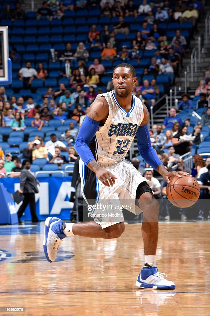 J Watson of the Orlando Magic dribbles the ball against the Memphis Grizzlies on October 23 2015 at Amway Center in Orlando Florida NOTE TO USER User...