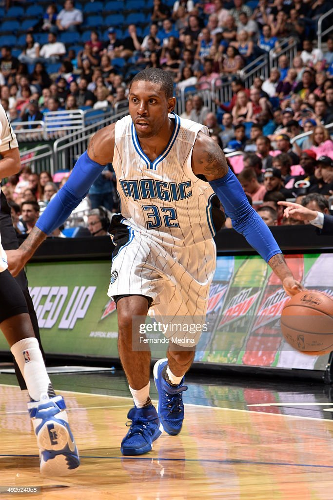 J Watson of the Orlando Magic drives to the basket against the Miami Heat during a preseason game on October 13 2015 at Amway Center in Orlando...