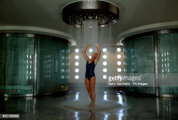 Watsu therapist and yoga teacher Jan Bird enjoys the shower in the steam room at the Thermae Bath Spa in Bath Somerset PRESS ASSOCIATION photo PRESS...