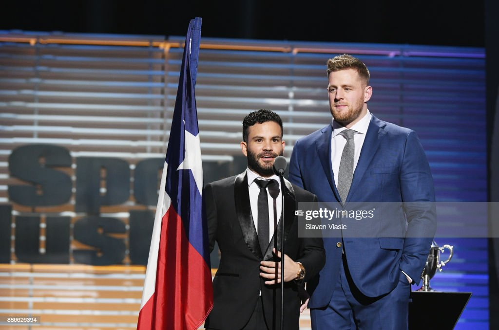 J.J. Watt (R) and Jose Altuve receive the Sportsperson of the Year Award during SPORTS ILLUSTRATED 2017 Sportsperson of the Year Show on December 5, 2017 at Barclays Center in New York City. Tune in to NBCSN on December 8 at 8 p.m. ET or Univision Deportes Network on December 9 at 8 p.m. ET to watch the one hour SPORTS ILLUSTRATED Sportsperson of the Year special.